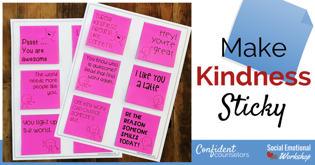 Sticky notes with messages of kindness