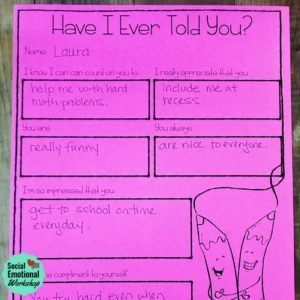 10 minute kindness activity that has students share kind thoughts about classmates.