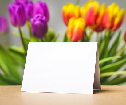 mother's day card and tulips