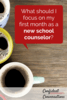 Being a new school counselor is exciting and overwhelming. In the first month as a new school counselor focus on making connections with teachers, parents and students. Listen and understand your school culture. Complete a needs assessment to better understand how to serve your school. Most of all as a school counselor, find time for self care and moments of reflection.