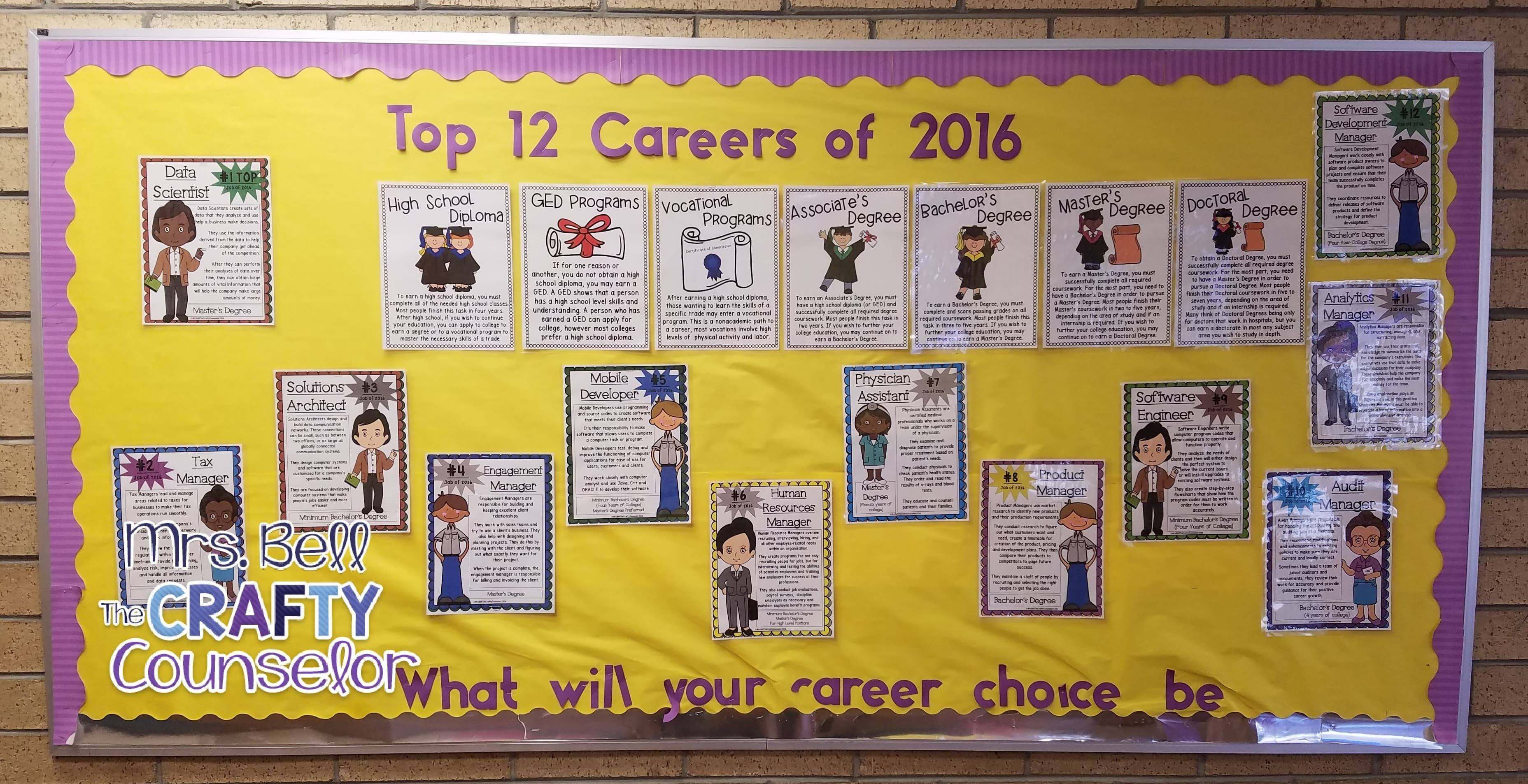 school counseling bulletin board career