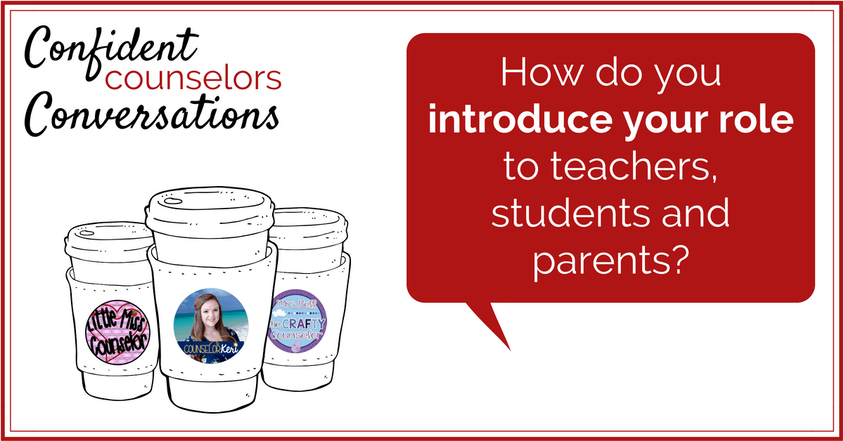 The school counselor role can be unclear to people. School counselors can present their role in a clear, engaging ways that helps parents, teachers, and students understand how to access them, types of support, and when to access school counselors.