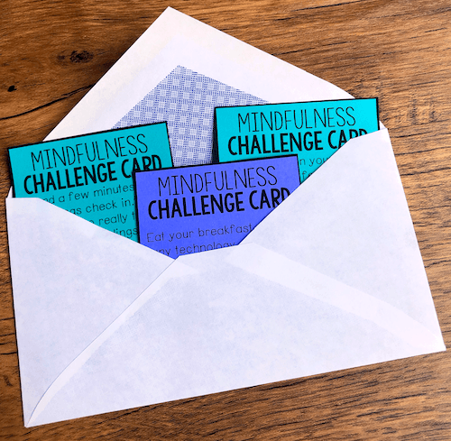 Giving each family something to take home, like these mindfulness challenge cards, can help encourage SEL at home!